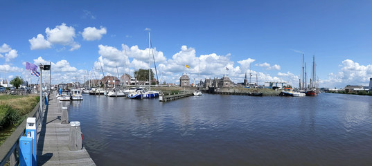 Canal lock panorama in Lemmer