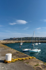 Yachts are tied Up at Marine Harbour in Howth Dublin.