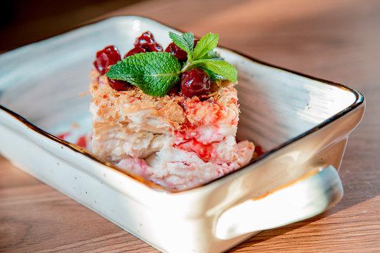 cake napoleon with cherry