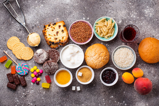 Assortment of simple carbohydrates food