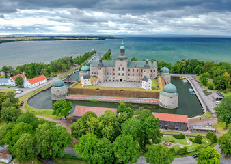 Vadstena castle - summer aerial view