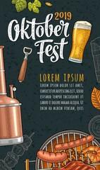 Vertical poster to oktoberfest 2019 festival. Vintage color vector engraving
