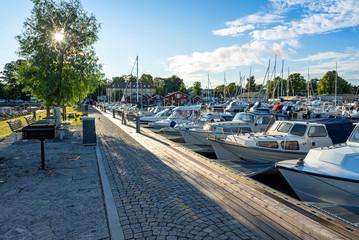 Hjo harbor in summer scenery