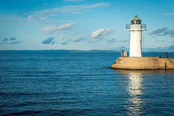Harbor lighthouse in Swedish marina