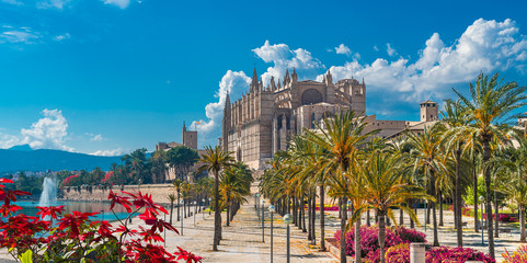 Landscape with Cathedral La Seu in Palma de Mallorca islands, Spain