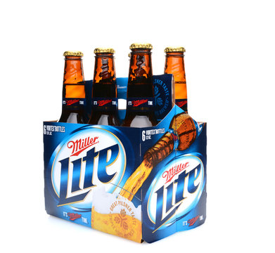IRVINE, CA - MAY 25, 2014: A 6 pack of Miller Light beer, 3/4 view. Produced by MillerCoors, Miller Lite was introduced in 1975 and quickly became the number two brand in America.