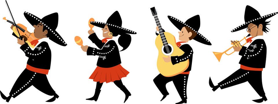 Cute kids in mariachi outfits playing traditional instruments, EPS 8 vector illustration