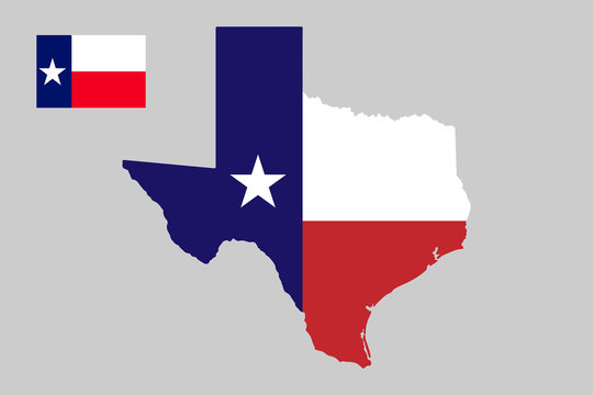 U.S. state of Texas Map outline and flag .Vector illustration.