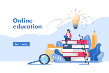 Person gains knowledge for success and better ideas. Online education or business training. Vector illustration for mobile and web graphics. Wall mural