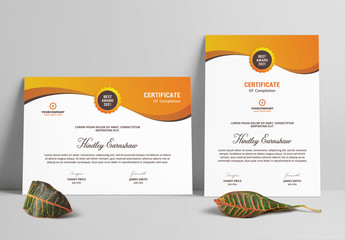 Certificate Layout with Orange Gradient Elements