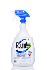 IRVINE, CALIFORNIA - SEPT 6, 2018: Bottle of Roundup Weed and Grass Killer. The controversial product from Monsanto contains the cancer causing chemical Glyphosate.