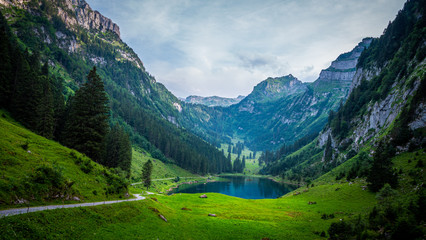 Beautiful mountain lake in the Swiss Alps - very romantic