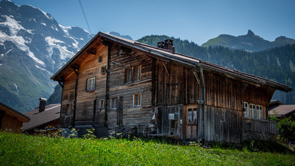 Typical wooden barns in Switerland
