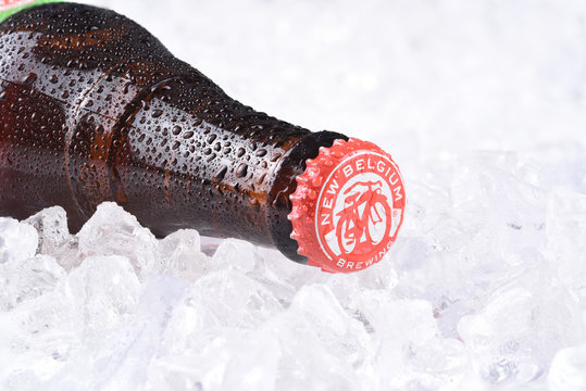 IRVINE, CA - JULY 16, 2017: New Belgium Brewing Company bottle on ice. A craft brewery located in Fort Collins, Colorado. It was opened in 1991 by Jeff Lebesch and Kim Jordan.