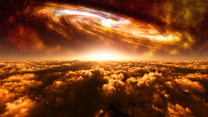 majestic alien planet scenery with fantasy sky and giant galaxy
