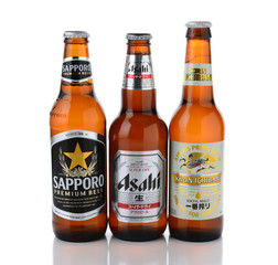 IRVINE, CA - JANUARY, 11, 2015: Three bottles of Japanese beers. Sapporo, Asahi and Kirin Ichiban are three of the most popular Japanese beers imported into the USA