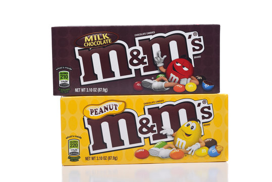 IRVINE, CALIFORNIA - JANUARY 5, 2018: M and Ms Peanut and Milk Chocolate. Two boxes of the popular candy coated choclate confection.