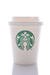 IRVINE, CALIFORNIA - MAY 6, 2019: A Starbucks small white cup with the company logo, designed to reflect the seductive imagery of the sea.