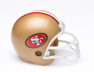 San IRVINE, CALIFORNIA - AUGUST 30, 2018: Mini Collectable Football Helmet for the San Francisco 49ers of the National Football Conference West. 49ers Football Helmet