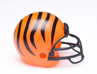 IRVINE, CALIFORNIA - AUGUST 30, 2018: Mini Collectable Football Helmet for the Cincinnati Bengals of the American Football Conference North.