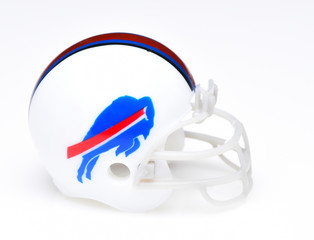 IRVINE, CALIFORNIA - AUGUST 30, 2018: Mini Collectable Football Helmet for the Buffalo Bills of the American Football Conference East.