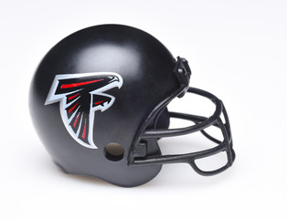 IRVINE, CALIFORNIA - AUGUST 30, 2018: Mini Collectable Football Helmet for the Atlanta Falcons of the National Football Conference South.