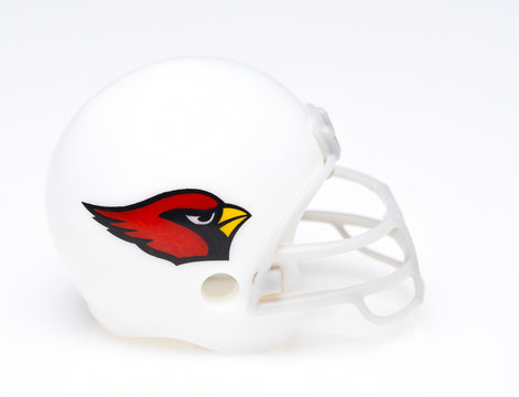 IRVINE, CALIFORNIA - AUGUST 30, 2018: Mini Collectable Football Helmet of the Arizona Cardinals National Football Conference West.