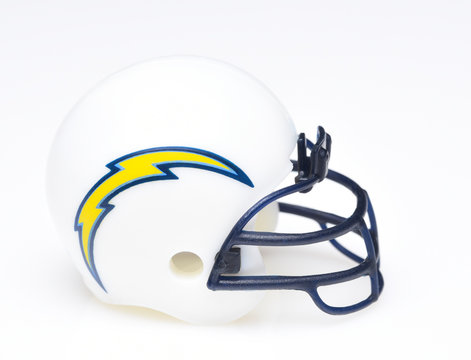 IRVINE, CALIFORNIA - AUGUST 30, 2018: Mini Collectable Football Helmet for the Los Angeles Chargers of the American Football Conference West.