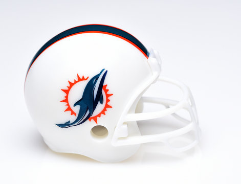 IRVINE, CALIFORNIA - AUGUST 30, 2018: Mini Collectable Football Helmet for the Miami Dolphins of the American Football Conference East.