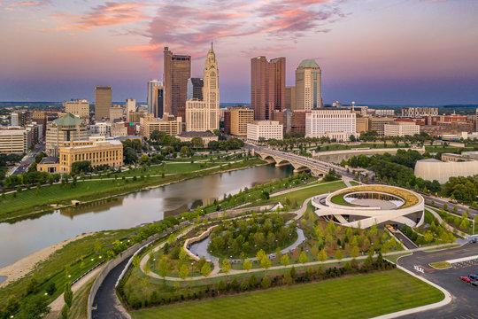 Sunset over Columbus Ohio city skyline and Scioto River