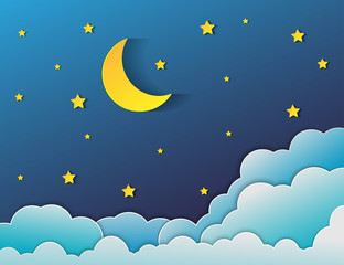 paper art style.Vector of a crescent moon with stars on a cloudy night sky. Moon and stars background.