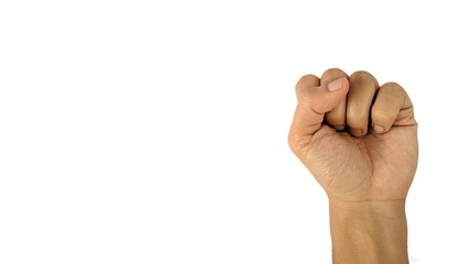 A man's hand with a symbol on white background, male hand shows fist. Use as background or wallpaper with copy space for text