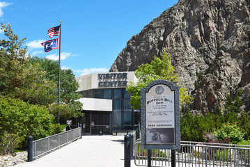 CODY, WYOMING - JUNE 24, 2017: Buffalo Bill Dam Visitor Center. The dam on the Shoshone River is named after the famous wild west figure William Buffalo Bill Cody.