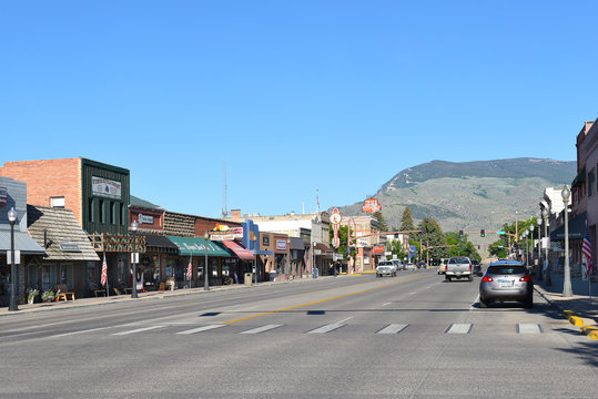CODY, WYOMING - JUNE 24, 2017: Sheridan Avenue in Cody, Wyoming. The street is the main business and tourist route in the famous western town.