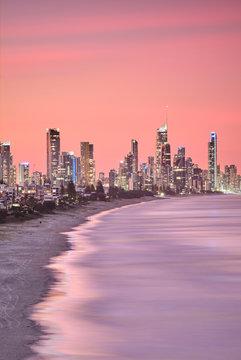 Surfers Paradise skyline Gold Coast australia at sunset