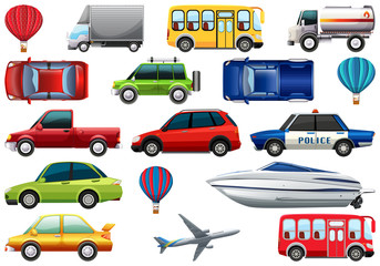 Transport pack with cars, trucks, planes, boats, bus, balloon