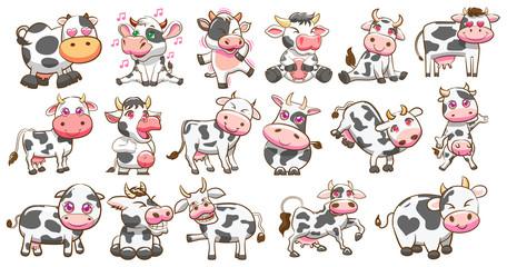 cow vector set graphic design