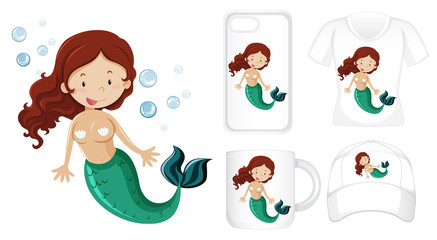 Graphic design on different products with mermaid