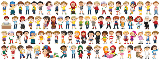 Children with different nationalities on white background