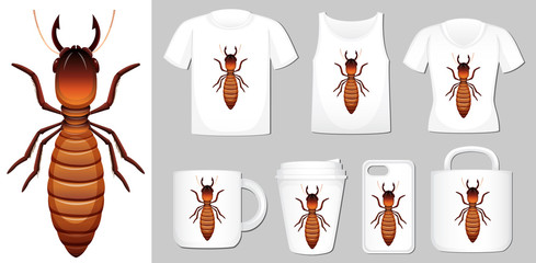 Graphic of termite on different product templates
