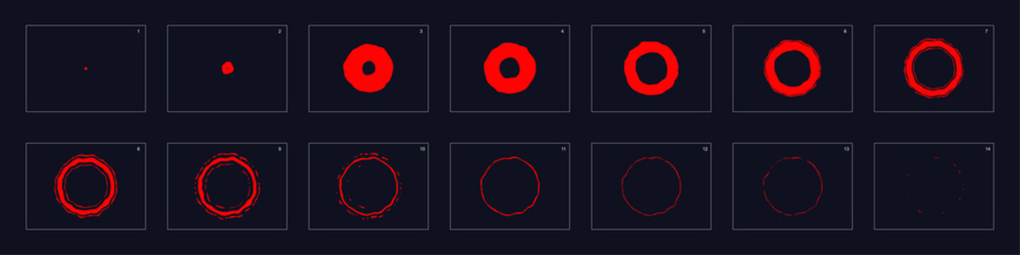 fire ring Animation. Smoke animation. Sprite sheet for game or cartoon or animation