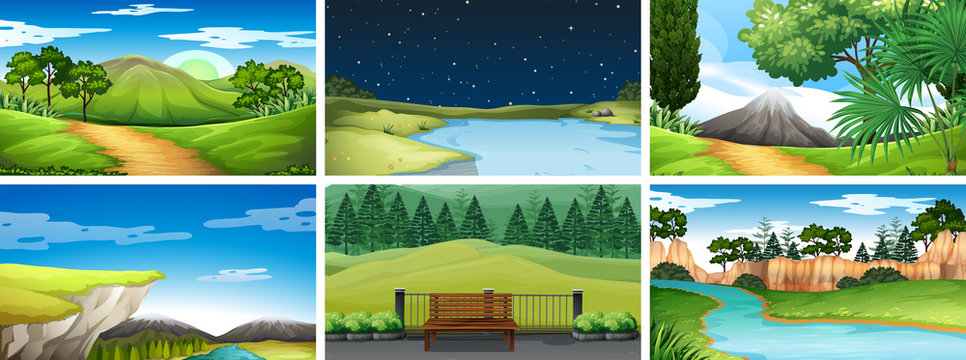 Set of day and night scenes in nature