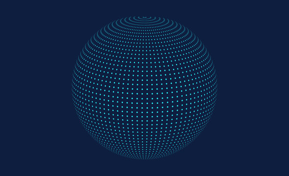 Sphere with connected lines.Global digital connections.Abstract 3d grid design.