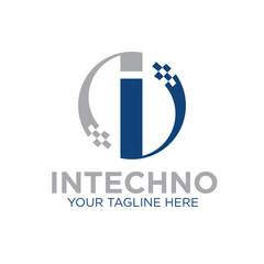i technology logo designs icon