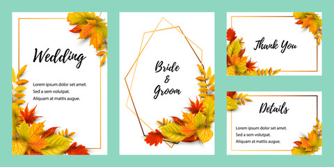 Wedding invites set with falling leaves. Autumn background vector illustration. Place for text. Great for party invitation, seasonal autumn sale, wedding, web, fall festival, Happy Thanksgiving.