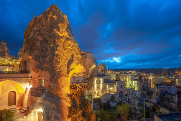 Wall Mural - Cappadocia skyline at night in Goreme, Turkey