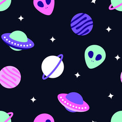Universe With Planets And Aliens Seamless Pattern