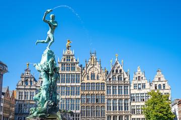 Grote Markt with landmark buildings in Antwerp, Belgium