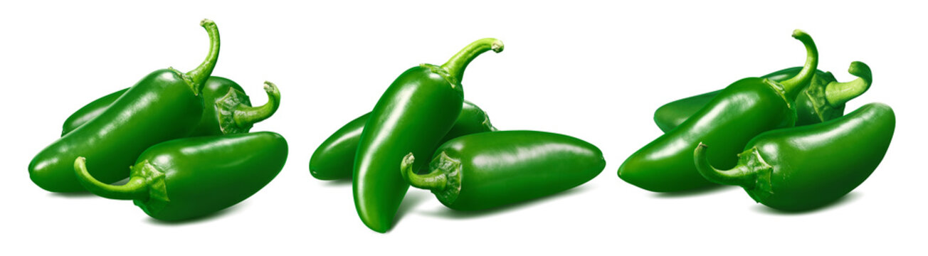 Set of small green hot peppers isolated on white background