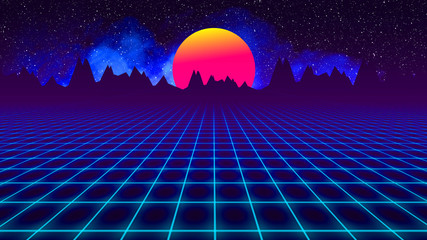 background retro 1980 , sun between mountains silhouette and sky whit stars whit grid and smoke. Illustration